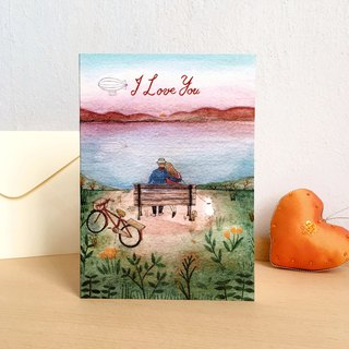 "Greeting card-""Sunset"" i love you-with envelope"