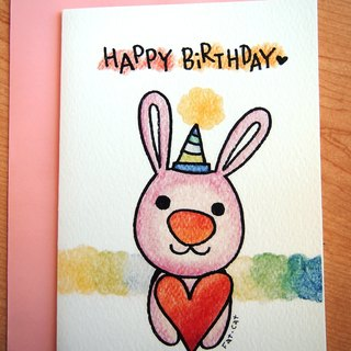 Birthday card - loving rabbit