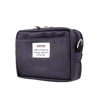 AMINAH-purple leather dual-use carry bag (small) pocket/shoulder bag [am-0266]