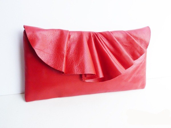 Leather Pleated handbag (S-size) in Red by Vicki From Europe