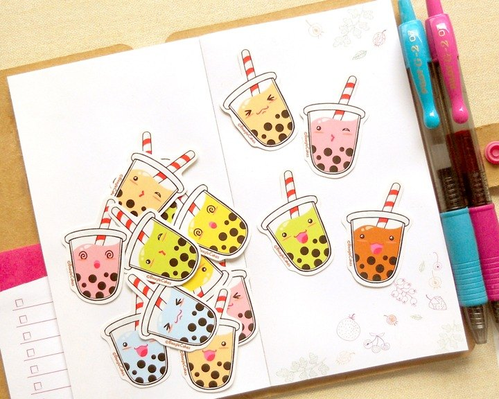 Bubble Tea Stickers - 15 Pieces  - Planner Stickers - Stickers for Planner