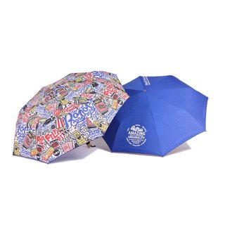 Filter017 - 雨傘 - Filter017 Dazzle Shield Folding Umbrella Collection –THE POP CORN GANG PATTERN 玉米幫摺疊晴雨傘
