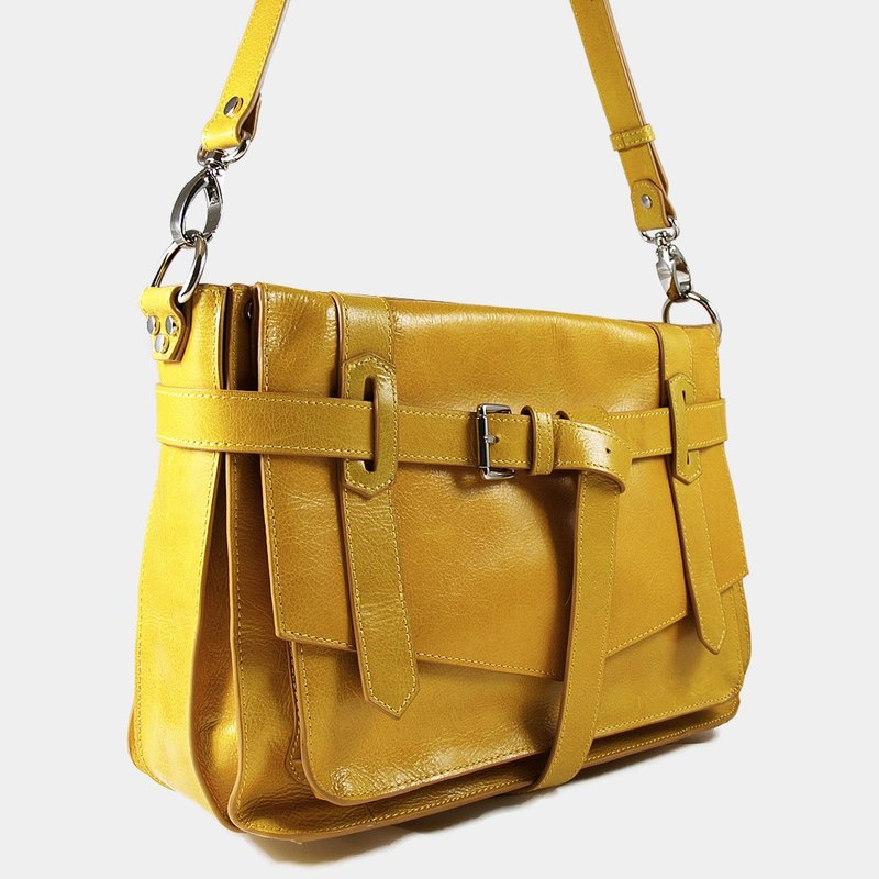 Influxx KAY Classic Leather Satchel / Leather Bag – Spectra Yellow