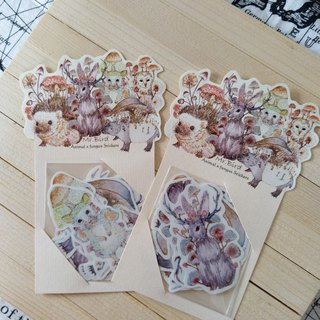 Hedgehog owl Jack rabbit rabbit mouse Malay 貘 animal x mushroom sticker