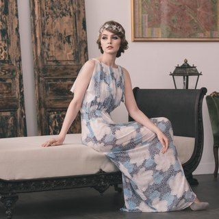 Kan's 30S Vintage Clouds Fog Goddess Backless Long Dress (Pink Blue)
