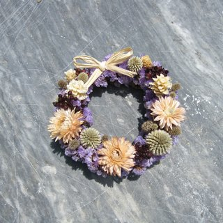 Hi, mini garden - purple stars and dried wreaths