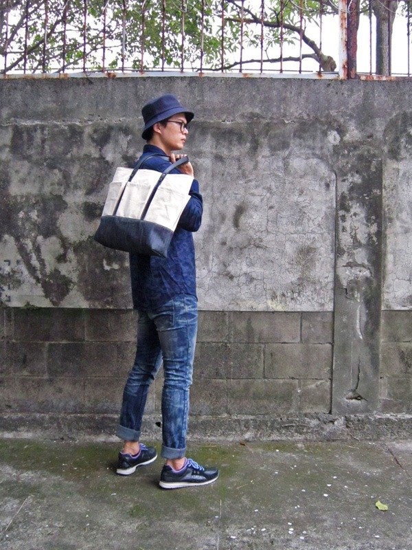 DENIM-handmade leather denim denim canvas multi-pocket portable / tote / laptop bag