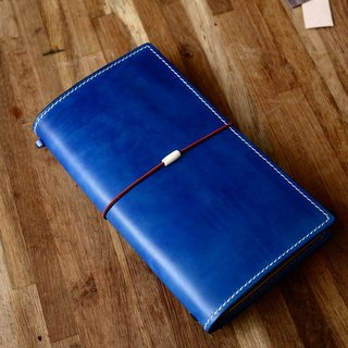 Hand-made hand-dyed blue tank tanned cowhide leather travel notebook TN notepad notebook PDA standard models