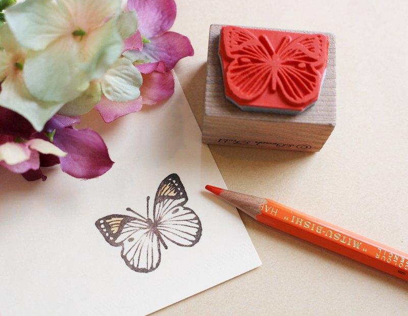 橙端粉蝶 木頭印章
