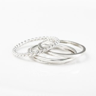 Sterling Silver Ring - Silver (set of 4 in total) Line of ring twist. Square twist. Round line. Square line ring -ART64