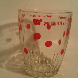 Vintage 9cm Milk Glass with Red Spots wind grocery little Wei Chuan milk glass