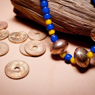 Dreamstation leather Pao Institute, Japan's ancient coins & amp; manual white core glass beads necklace