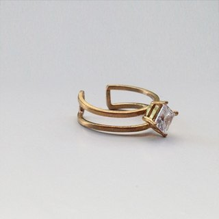 Ohappy Minimal Series | Faith Zircon Brass Ring