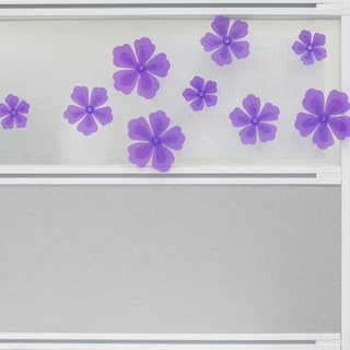 Mural transparent purple peony flowers group