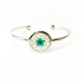 Silver Framed Pressed Flower Bangle