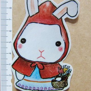Hand painted illustrator style full waterproof stickers fairy tale little rabbit Little Red Riding Hood Little Red Riding Hood