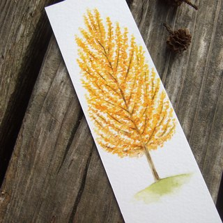 Autumn yellow tree - hand-made watercolor bookmark card (original)