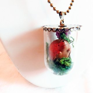 Hedgehog} {Mori の glassy three-dimensional situation hedgehog necklace jewelry (Medicago -A style)