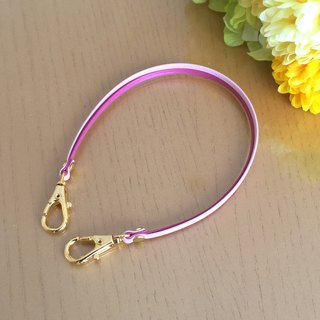 "Two-tone color Leather strap (VividPink and PalePink) ""Clasps : Gold"""