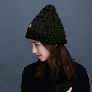 【MOUNTAIN HAND MADE】100% wool beanie /Blue