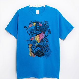 Men Fitted cotton illustration Tee / Travel T - Indian dancing Shiva (blue)