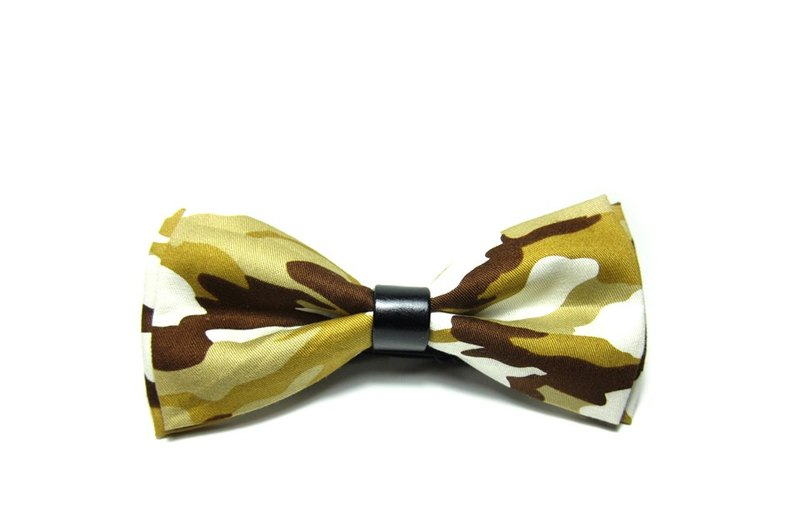 ▲ three-color camouflage tie - yellow Hand-made Bow Tie