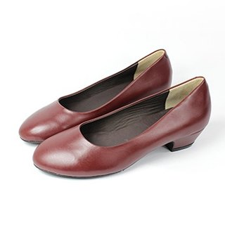 Burgundy wild low-heeled shoes