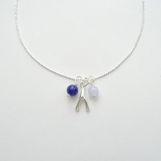 Sodalite & Blue Lace Agate Wishbone Sterling Silver Necklace - Blue