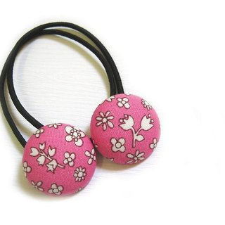Hand-made cloth buttons circle flower hair headband
