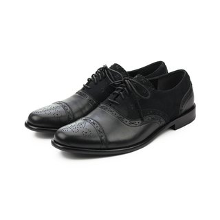 Poppy M1093C Black leather oxford shoes