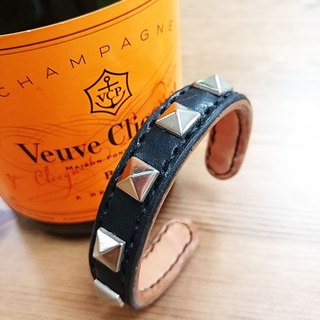 _ Cool leather hand-made leather bracelet - copper core increase (s) - pyramid rivets