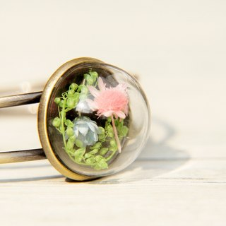 Valentine's Day gift of the forest department / dried flower glass brass bracelet - blue pink flower