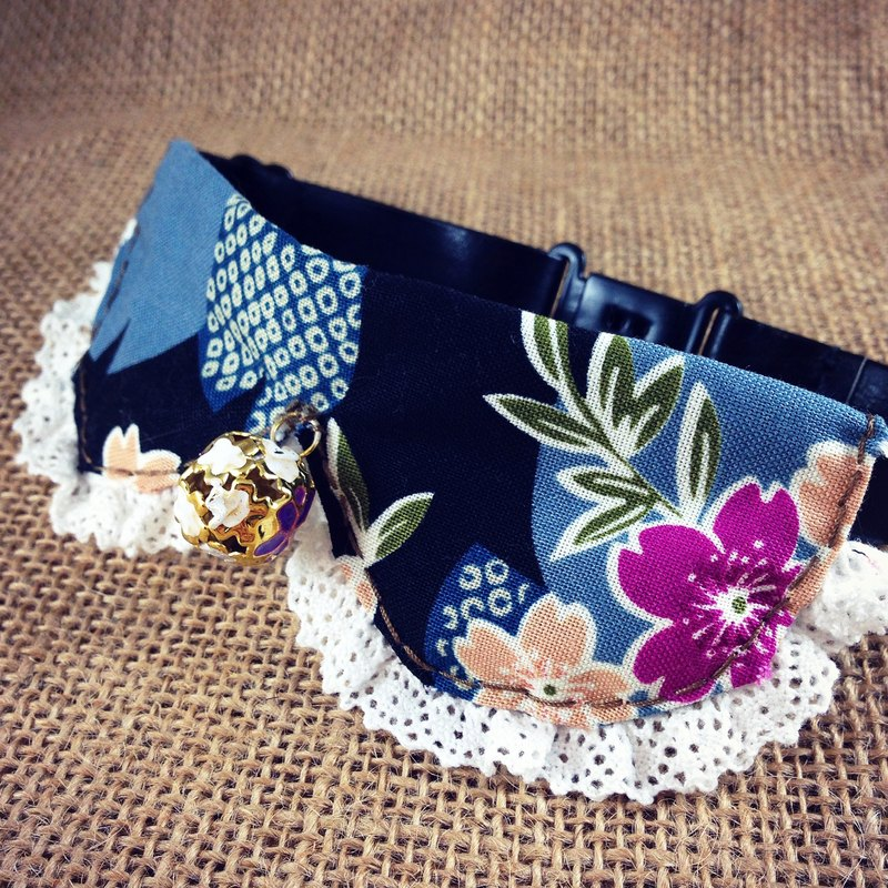 Blue Black Floral tie pet collar dog cat S size