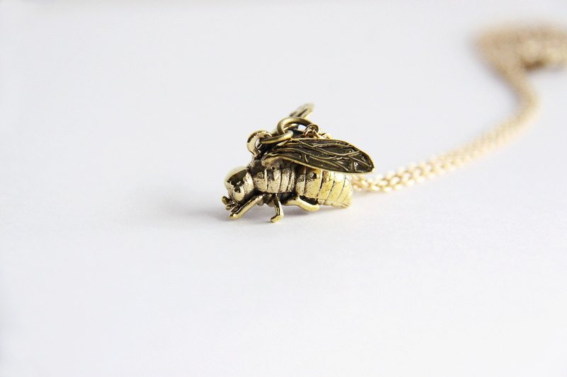 Fly Pendant / Necklace - brass metal work