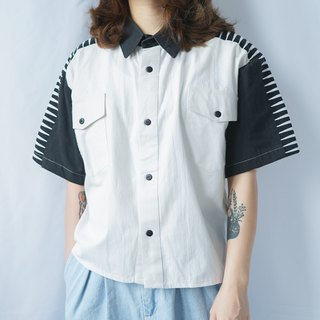 II Ancient II Japanese II Remake vintage black and white stitching short shirt II