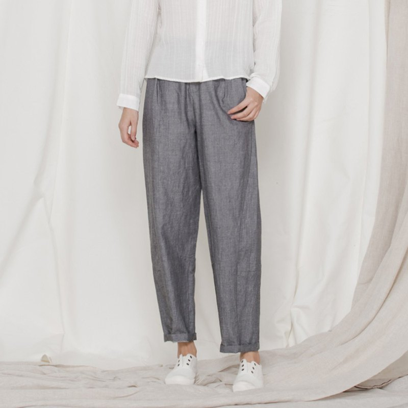 BUFU unisex linen pants in heather-grey