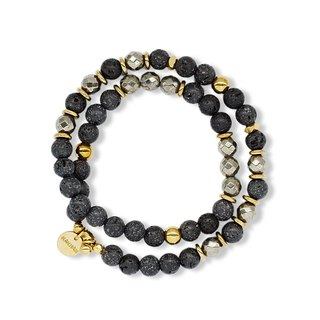 String series brass volcanic rock pyrite bracelet natural ore