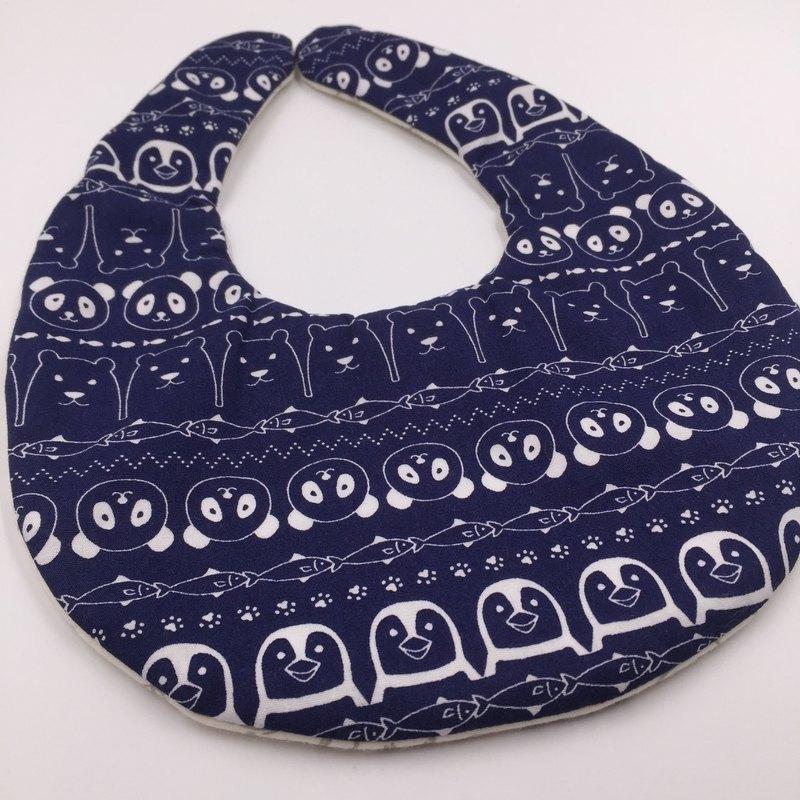 深藍底動物大集合圍兜 二重紗 口水巾  彌月禮