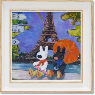 """Lisa and Casper"" mini with box copy painting - rain in Paris"