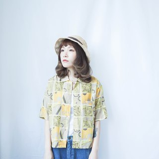 Vintage II Japanese II Lemon Yellow Vintage Print Vintage Short Shirt II