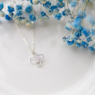 Small lucky pure silver necklace