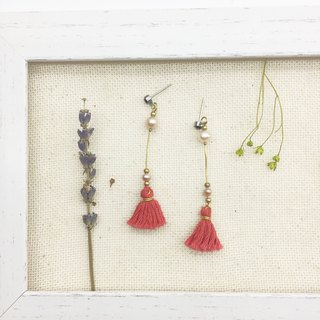 Laolin groceries l natural Shanghai pearls x Japanese embroidery thread hand made tassel earrings ear hook l ear pin l ear clip
