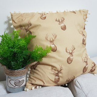 Scandinavian style coffee deer pattern, white hair ball pillow / pillow
