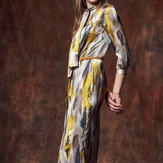 YUWEN Vintage Scarf Shirt Dress - Satin Print