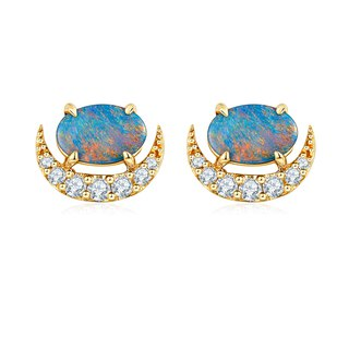 【PurpleMay Jewellery】18k Yellow Gold Black Opal Diamond Stud Earring E017