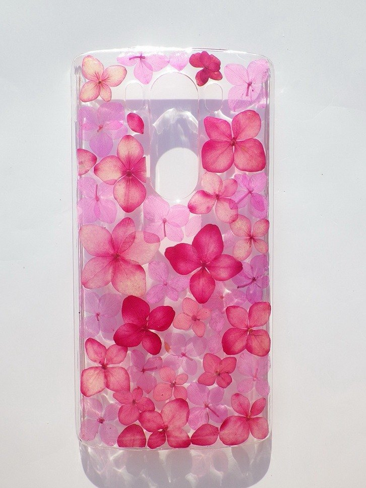 premium selection b38f6 ecb71 Handmade phone case, Pressed flowers phone case, LG V10, Pink Hydrangea
