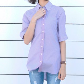 Five-point sleeves striped long version stitching shirt yarn-dyed thin cotton long shirt - purple