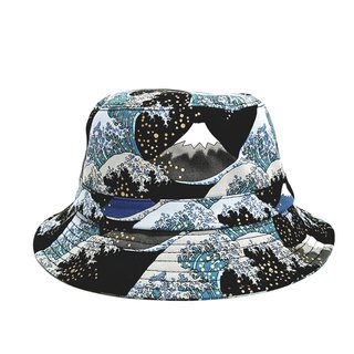 English Disc Gentleman Hat Ukiyoe Mt. Fuji Mix Wave (Cool Black) #情人节#