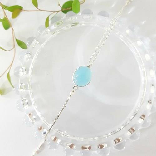 [ColorDay] March Birthstone - Sweet Mint Ice Blue Chalcedony Silver Bracelet / Blue Chalcedony / ブ ル ー カ ル セ ド ニ ー