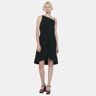 Layered Toga Dress (Black)